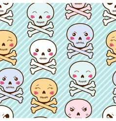 Seamless kawaii cartoon pattern with cute skulls vector