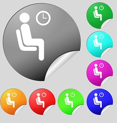 Waiting icon sign set of eight multi colored round vector