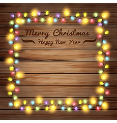Christmas lights on wooden boards and chalkboard vector