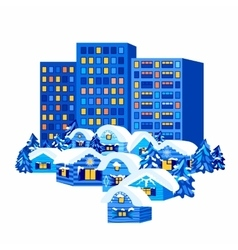 Winter City and Village Houses vector image