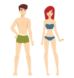 Beautiful cartoon nude couple fashion vector image