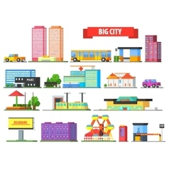 Big city urban icons set vector