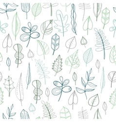 Seamless pattern with leaves floral background vector image