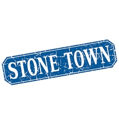 Stone town blue square grunge retro style sign vector