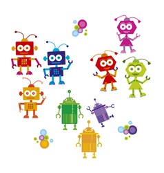 Colorful cute robot set on white background vector
