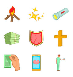 alms-deed icons set cartoon style vector image vector image