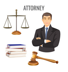 attorney in glasses near scales four books and vector image