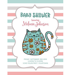 baby shower card template with fat doodle cat vector image vector image