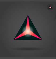 Black triangle with red hole vector