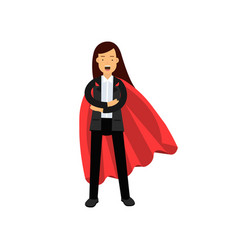 business woman with red superhero cloak standing vector image vector image