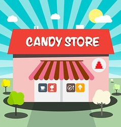 Candy store flat design vector
