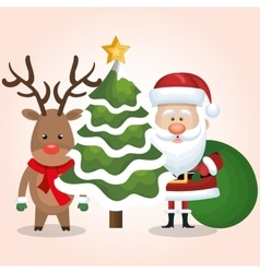 chrsitmas card santa deer and tree with bag gift vector image