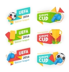 Collection of soccer cup badges vector