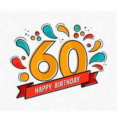 Colorful happy birthday number 60 flat line design vector