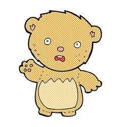Comic cartoon worried teddy bear vector