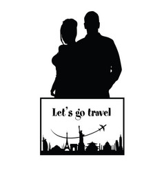 couple silhouette with travel sign vector image