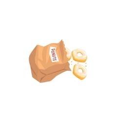 Doughnuts Falling Out From Paper Bag vector image vector image