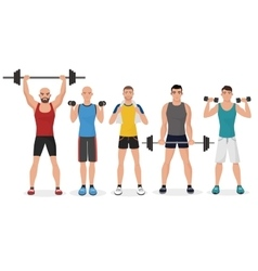 Fitness men male in gym set Healthy lifestyle vector image