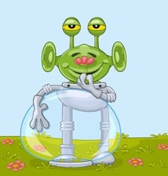 Funny alien with flower vector