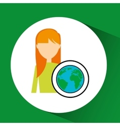 girl concept ecological globe vector image