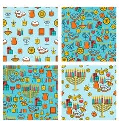 Hanukkah seamless pattern collection hanukkah vector