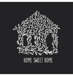 Home sweet home hand drawn poster vintage vector image