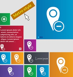 Map pointer icon sign Metro style buttons Modern vector image