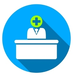 Medical bureaucrat flat round icon with long vector