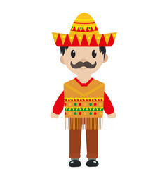 Mexican in a traditional suite icon flat cartoon vector