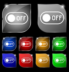 Off icon sign set of ten colorful buttons with vector