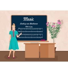 School music female teacher in audience class vector