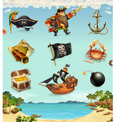 Sea pirates funny character and objects icon set vector image vector image