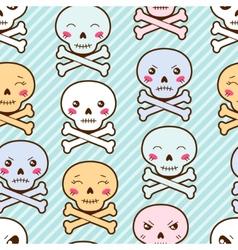 Seamless kawaii cartoon pattern with cute skulls vector