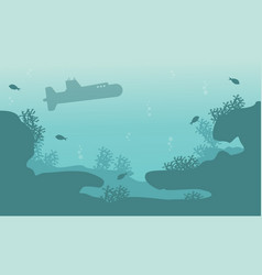 Silhouette of submarine and reef ocean landscape vector