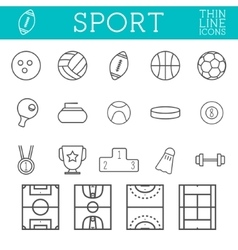Sport outline icons trendy thin line design vector