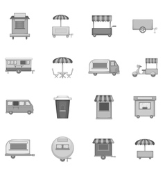 Street food kiosk vehicle icons set vector
