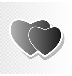 Two hearts sign new year blackish icon on vector