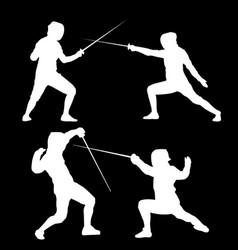 White silhouette of swordsmen on a black vector