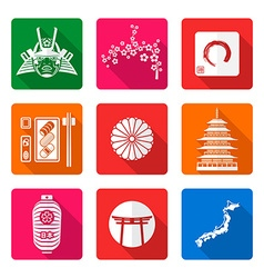 White solid flat style japanese icons set vector