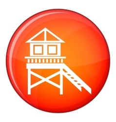 Wooden stilt house icon flat style vector