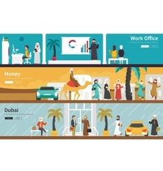 Money dubai flat office interior outdoor concept vector