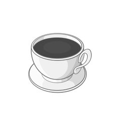 Coffee cup icon black monochrome style vector