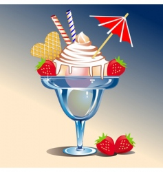 Ice cream with strawberries vector