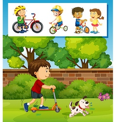 Boy playing scooter in the park vector image
