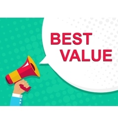 Megaphone with best value announcement flat style vector