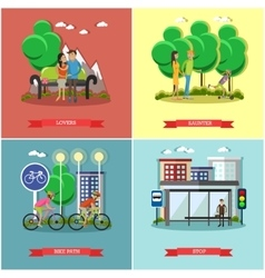 People in park concept banners set Time vector image
