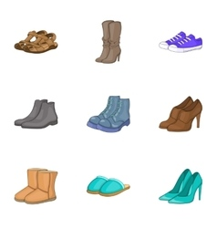 Foot protection icons set cartoon style vector