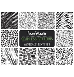 Set of ten hand drawn ink seamless patterns vector