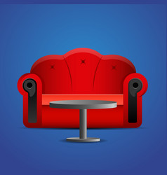 Red sofa with table on blue background vector