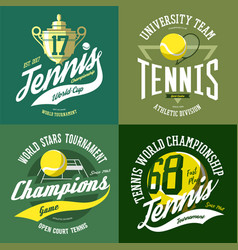 Tennis ball and trophy or cup rack and court vector